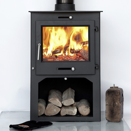 12kw medium-sized wood burning stove with log store