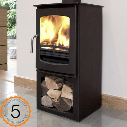 5kw multi-fuel wood burning stove with log store